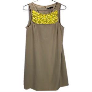 Tibi embellished neck neon beaded shift dress
